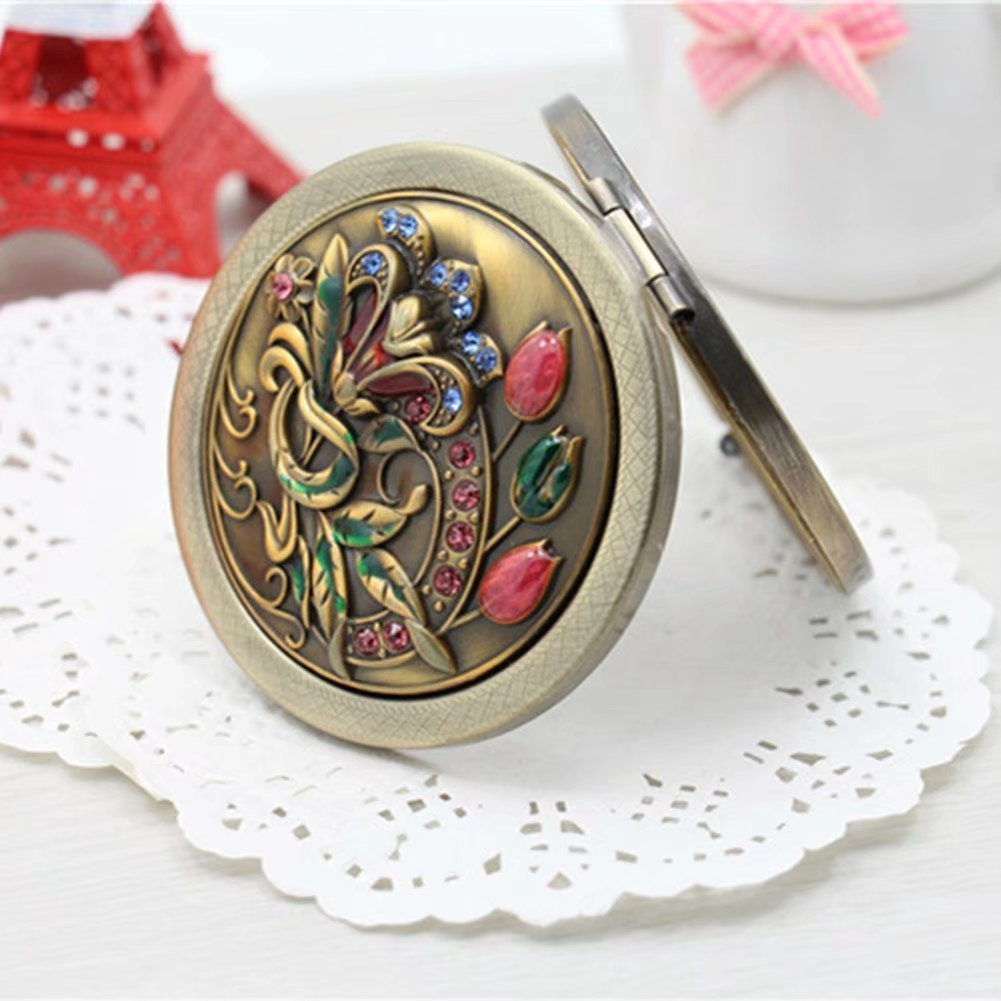 BLUENIVEYY Bronze New Style Flower Bird Double Sides Portable Foldable Pocket Metal Makeup Compact Mirror Woman Cosmetic Mirror,B