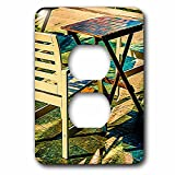 3dRose Alexis Photo-Art - Objects - Wooden table and a chair of a summer open air cafe. Digital painting - Light Switch Covers - 2 plug outlet cover (lsp_272501_6)
