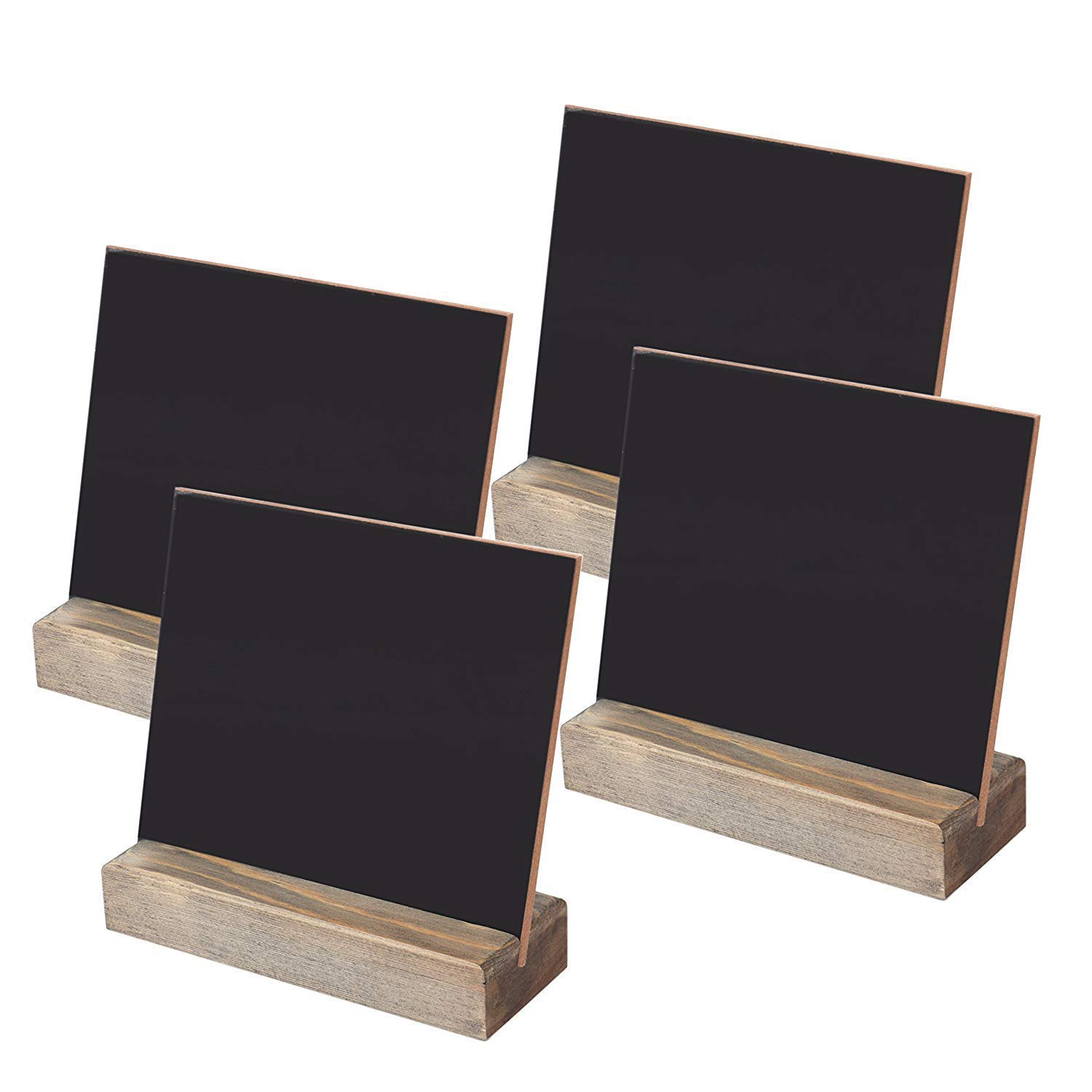 Fasmov Tabletop Chalkboard Signs with Wood Base Stands 5 X 6- Pack of 4