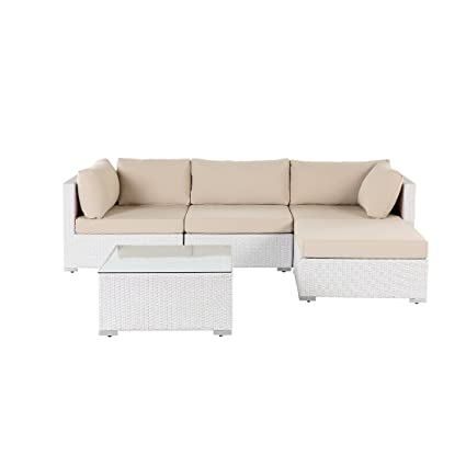 Amazon.com : Velago 3 Piece White Wicker Sofa Set with ...
