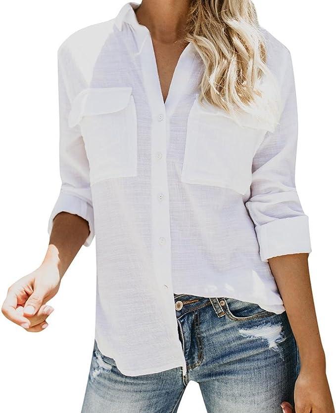 Mujer AlgodóN Lino Bolsillo Camiseta SóLido Manga Larga Casual Suelto Blusa Abotonar Tops (S, Blanco): Amazon.es: Ropa y accesorios