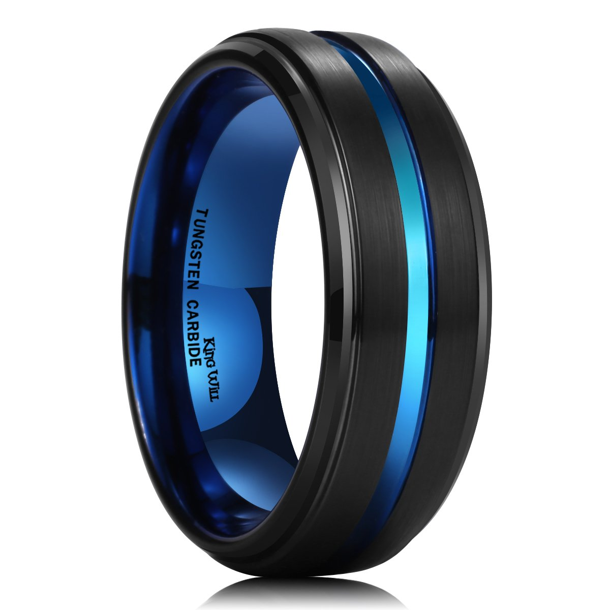King Will Duo 8mm Black Brushed Finish Tungsten Carbide Ring Blue Thin Beveled Stepped Edge Wedding Band
