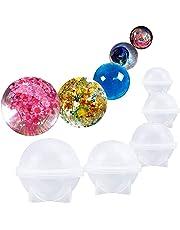 Rocita DIY Esfera Redonda de Silicona Molde para Resina epoxi joyería Hacer Vela Cera casera jabón DIY plástico Bomba de baño Molde 5 Diferentes tamaños de Bolas de Hielo
