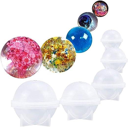 Rocita DIY Esfera Redonda de Silicona Molde para Resina epoxi joyería Hacer Vela Cera casera jabón DIY plástico Bomba de baño Molde 5 Diferentes tamaños de Bolas de Hielo: Amazon.es: Hogar