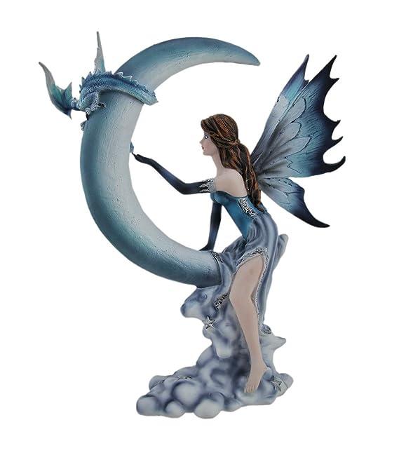 Resina estatuas azul hada y bebé dragón en media luna luna Estatua 9 ...