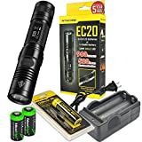 Nitecore EC20 960 Lumen CREE XM-L2 T6 LED Flashlight with Nitecore NL183 rechargeable 18650 Battery, charger and 2 X EdisonBright CR123A Lithium Batteries Bundle