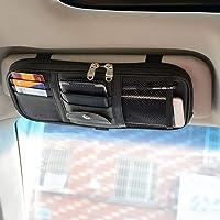 Car Sun Visor Organizer, Vankcp Auto Interior Accessories Sunglass Pen CD Card Small Document Storage Pouch Holder, PU…