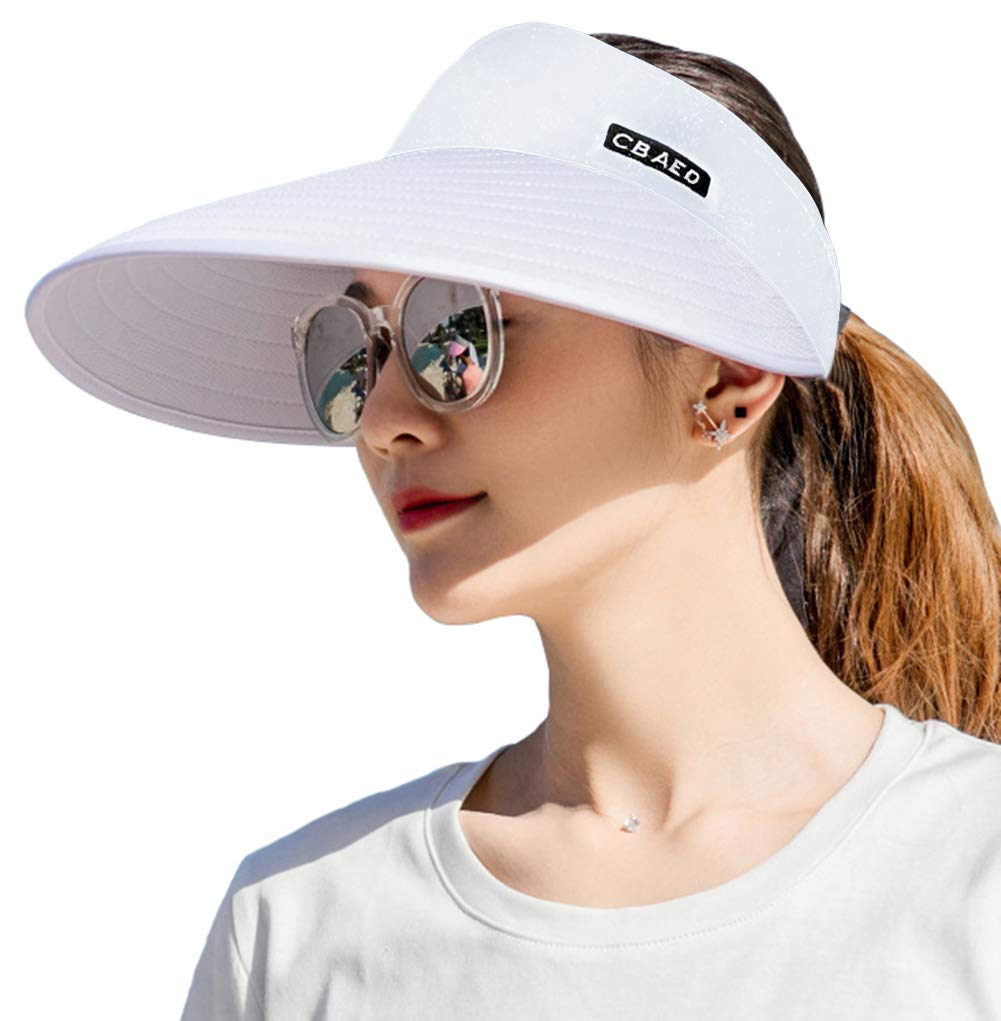 Sun Visor Hats for Women, Large Brim UV Protection Summer Beach Cap, 5.5''Wide Brim (White)