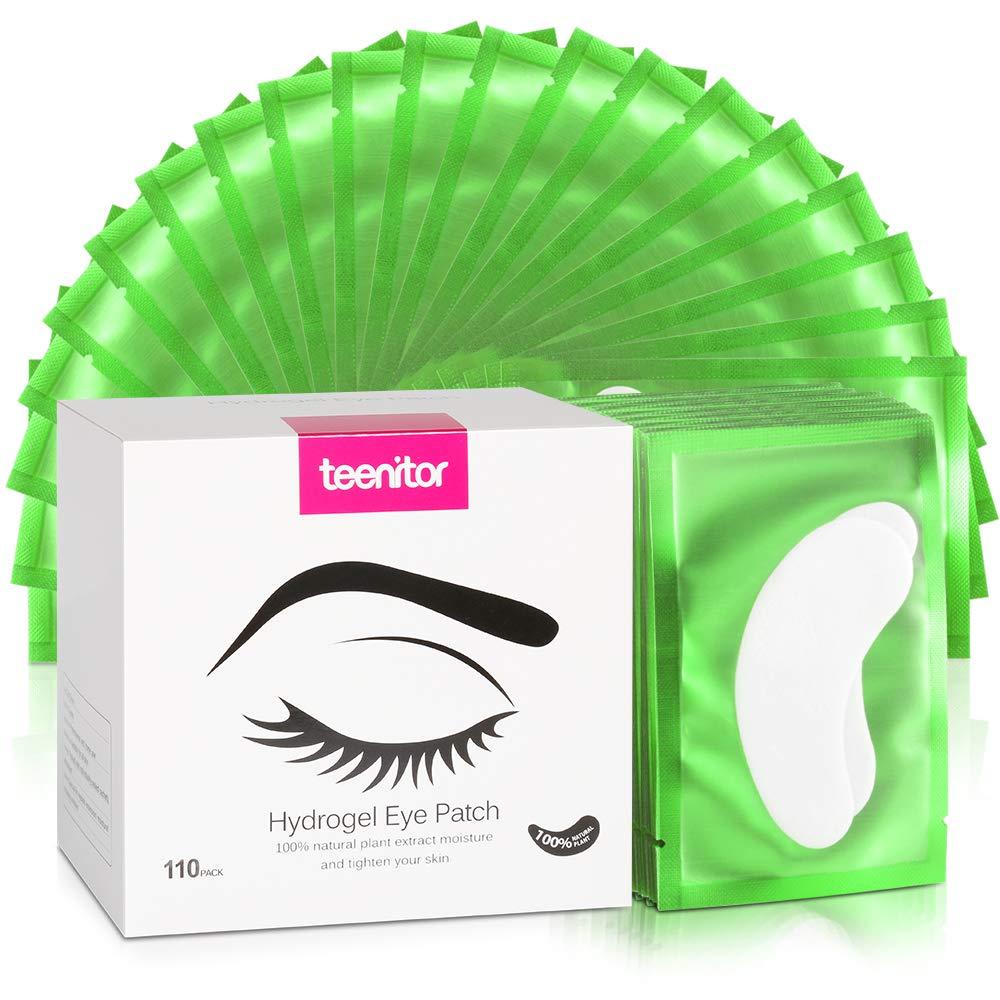 110 Pairs Eyelash Extension Gel Pads, Teenitor Lint Free Lash Under Eye Patches- Green