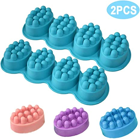 2pcs Massage Soap Molds LEEFE 4 Cavity Silicone Message Bar Mould for DIY Handmade Soap Making