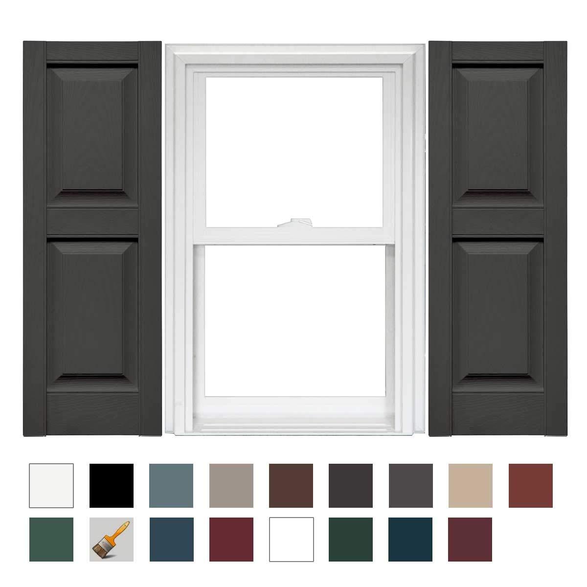 Mid-America Williamsburg Raised Panel Vinyl Standard Shutter - 1 Pair 14.75 x 80 018 Tuxedo Gray