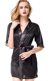 ETAOLINE Women s Satin Kimono Robe Lace Dressing Gown Silk Short Bathrobe  Sleepwear 6bfcb10f1