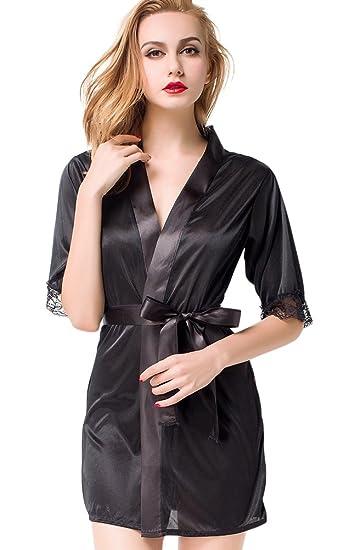 Women s Satin Kimono Robe Lace Dressing Gown Silk Short Bathrobe Sleepwear 7250d8b33