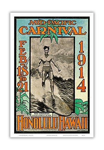 1914 Mid-Pacific Carnival - Honolulu Hawaii - Featuring Duke Kahanamoku, Champion Swimmer - Vintage
