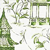 Pagodas Jade Green & Gray Oriental Toile King Duvet Cover with Pagodas Jade Reverse