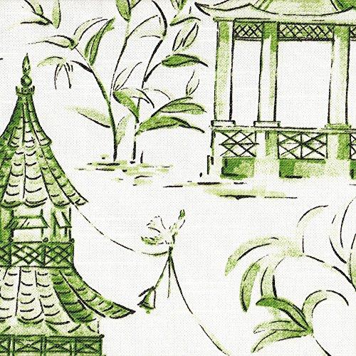 (Close to Custom Linens Pagodas Jade Green & Gray Oriental Toile Ruffled Euro Sham, Lined Cotton)