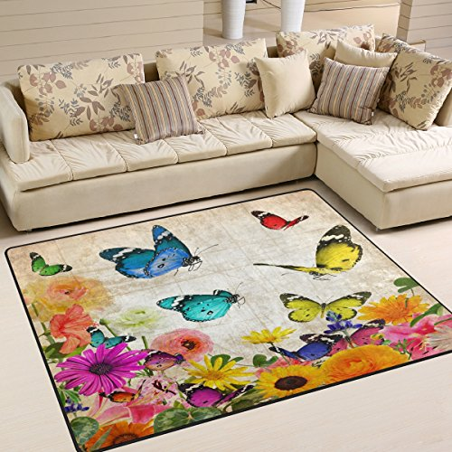 ALAZA Retro Shabby Chic Floral Butterfly Area Rug Rugs Mat for Living Room Bedroom 7'x5′