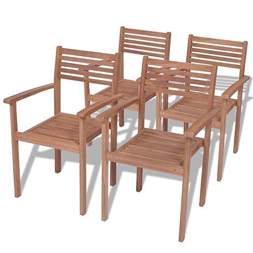 Tuduo Juego de sillas apilables 4 Unidades de Exterior de ...