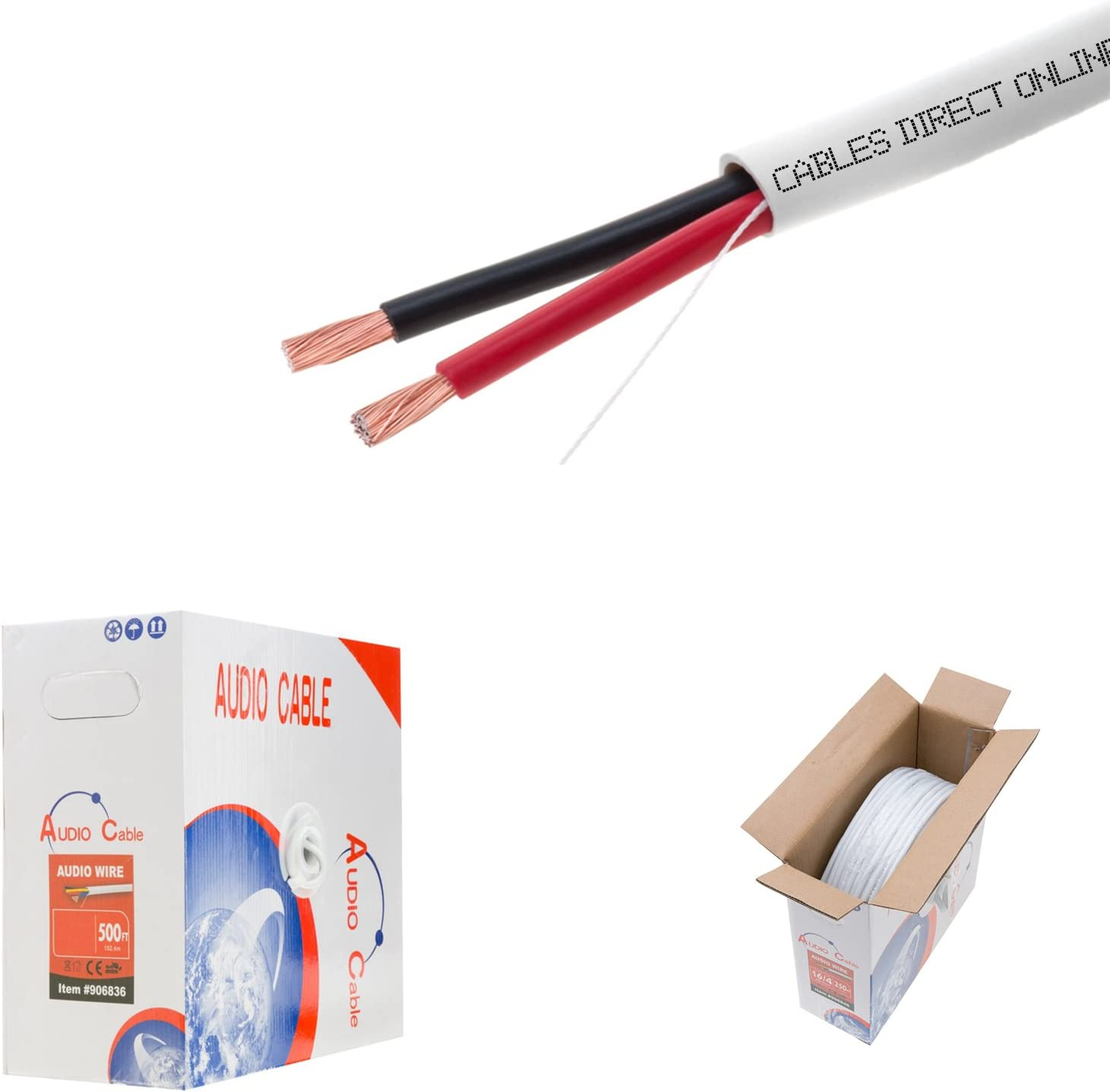 500ft 16AWG 2 Conductors (16/2) CL2 Rated Loud Speaker Cable Wire, Pull Box (for in-Wall Installation) (16AWG / 2 Conductors, 500ft)