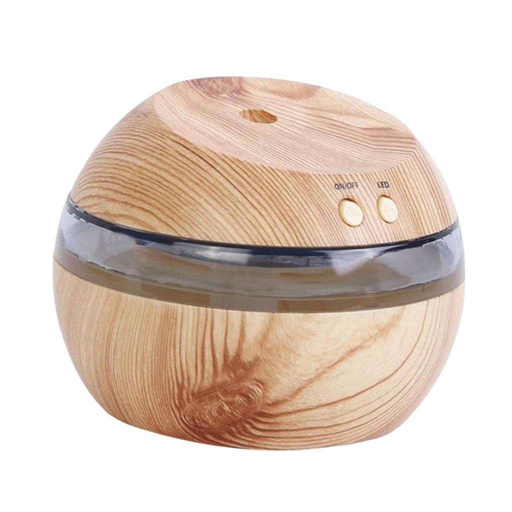 Blesiya Ultrasonic Humidifier LED Aroma Diffuser Aromatherapy Machine - Natural Wood, 10x8.5cm
