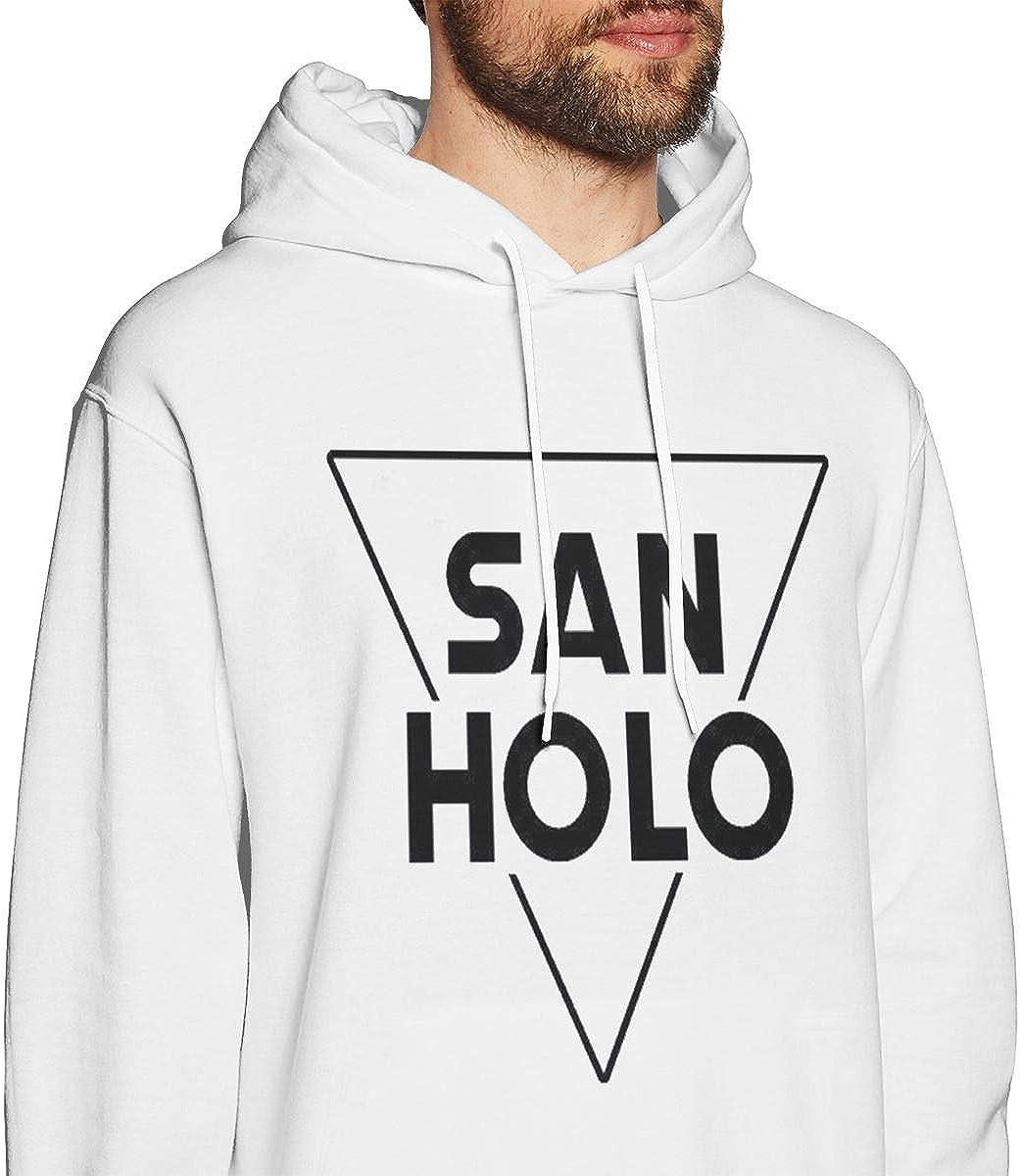 Mens Hooded Sweatshirt San Holo Personality Street Trend Creation White