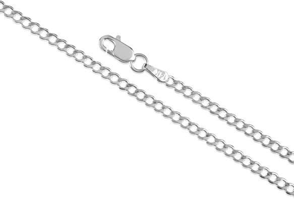 925 Sterling Silver Rhodium Plated Concave Figaro Chain Necklace in Silver Choice of Lengths 18 20 22 24 16 30 and Variety of mm Options