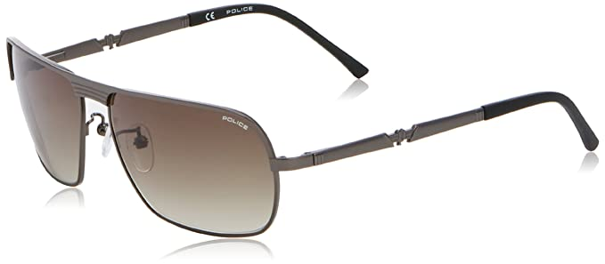 Police - Gafas de sol Aviador S8745 LEGEND 1, Grey (Semi Matt Gun Metal