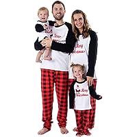BOBORA Pijamas Familiares de Navidad, Conjunto de Ropa de Dormir de algodón Merry Christmas Papá Noel Estampado con…