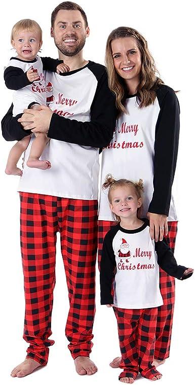 BOBORA Pijamas Familiares de Navidad, Conjunto de Ropa de Dormir de algodón Merry Christmas Papá Noel Estampado con Parte de Abajo de Rayas Pjs ...