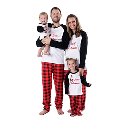 in vendita 87be6 0c88e Baywell Pigiami per Tutta la Famiglia,Pigiama Natale Famiglia Due Pezzi  Uomo Donna Bambini Tops Manica Lunga+Pantaloni Pajamas Set da Notte  Sleepwear ...