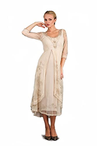 Women's Downton Abbey Vintage Style Tea Party Gown in Pearl