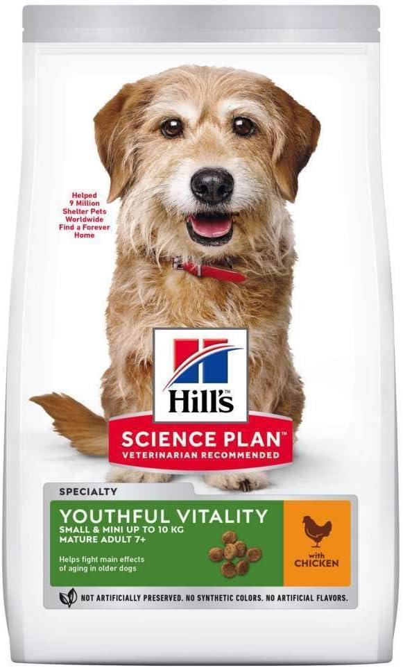 HILLS SCIE Hill's Small & Mini Mature Adult 7 Plus Dry Food with Chicken & Rice, Chicken Artículo para el hogar, Negro, Normal