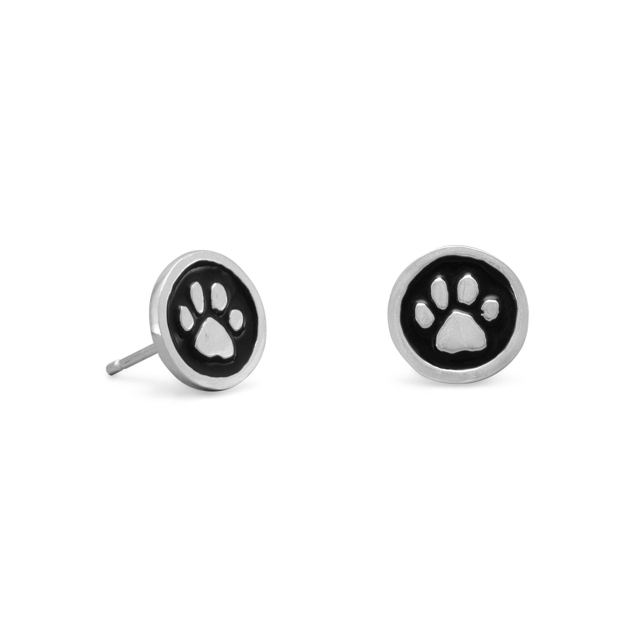 Sterling Silver Puppy Dog Post Stud Earrings 7.5x10.25mm