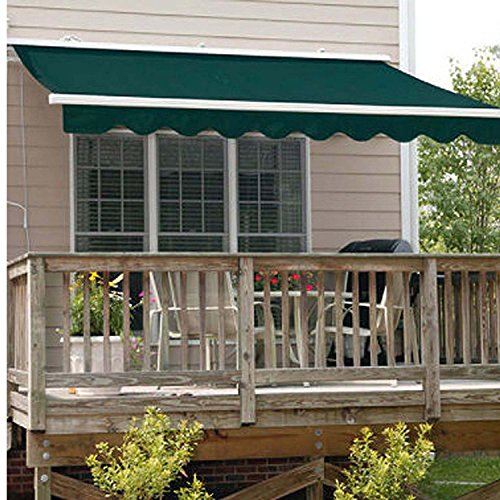 Aleko AWM20X10MSGREEN Retractable Motorized Patio Awning, 20' x 10', Multi Stripe Green
