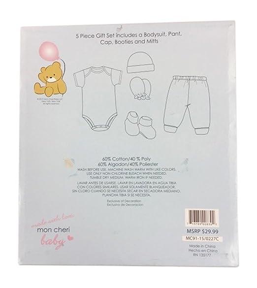 0-3 Months Pink Mon Cheri Baby Girls Flower Patch 5-piece Layette Set