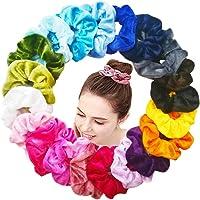 Lot de 20 Cheveux chouchous Velours Élastique Bandes De Accessoires, Multicolore Cheveux bandeaux pour Femmes ou Filles ,20 couleurs Scrunchie