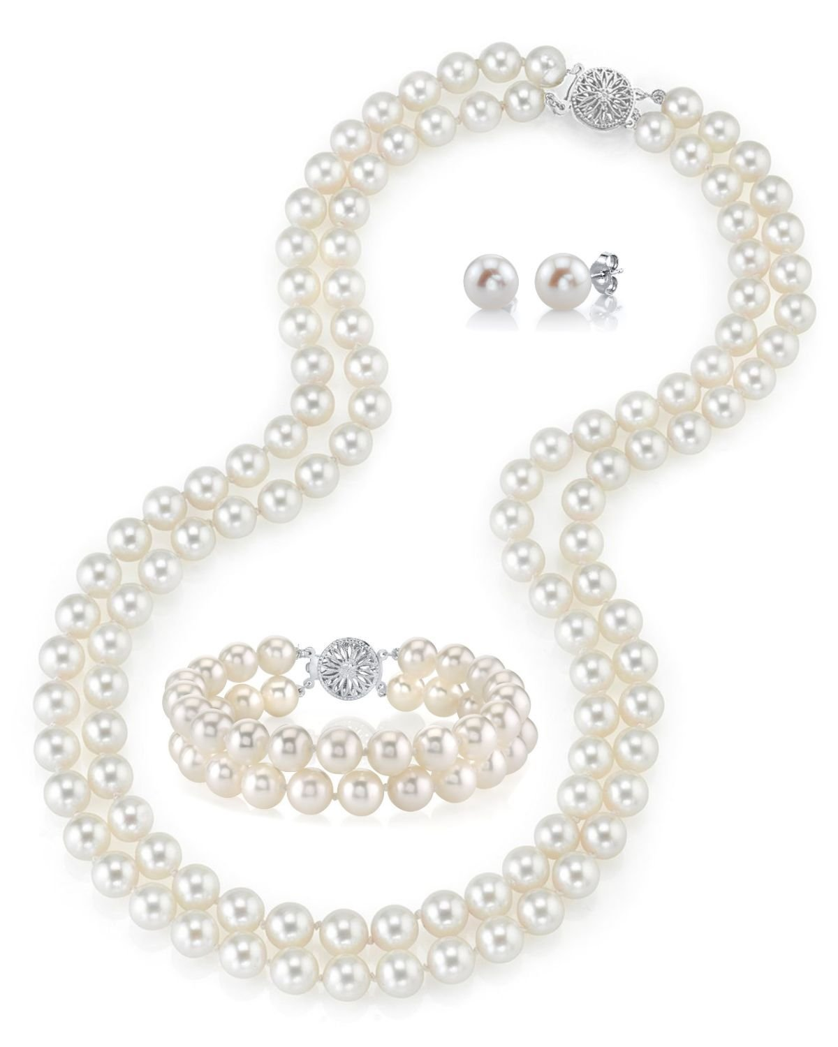 THE PEARL SOURCE 14K Gold 6.5-7mm AAAA Quality Round White Freshwater Cultured Pearl Double Strand Necklace, Bracelet & Earrings Set in 17'' Princess Length for Women