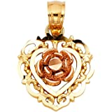14k Two Tone Gold Rose Bud in a Scroll Heart Pendant