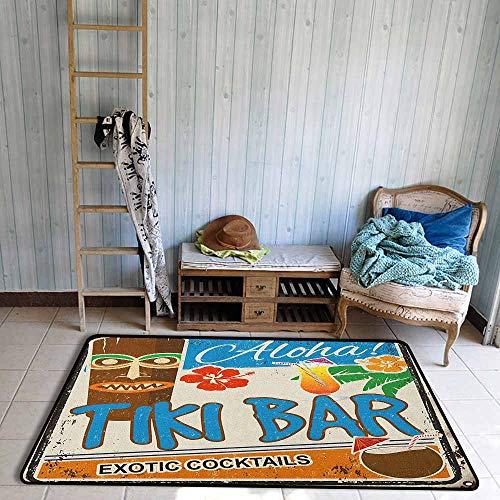 (Rectangular Rug,Tiki Bar Rusty Vintage Sign Aloha Exotic Cocktails and Coconut Drink Antique Nostalgic,Extra Large Rug,4'11