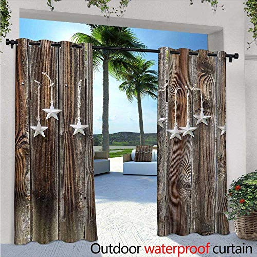 Primitive Country Outdoor- Free Standing Outdoor Privacy Curtain Silver Colored Ornate Stars on Wooden Rustic Fence Cabin Design Print for Front Porch Covered Patio Gazebo Dock Beach Home W108
