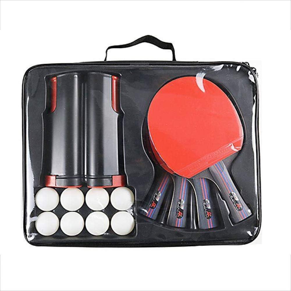 CLBING 4 Raquetas 8 Bolas De Ping Pong 1 Retractable Red Pong Paleta Raqueta Inversa Ping-Pong