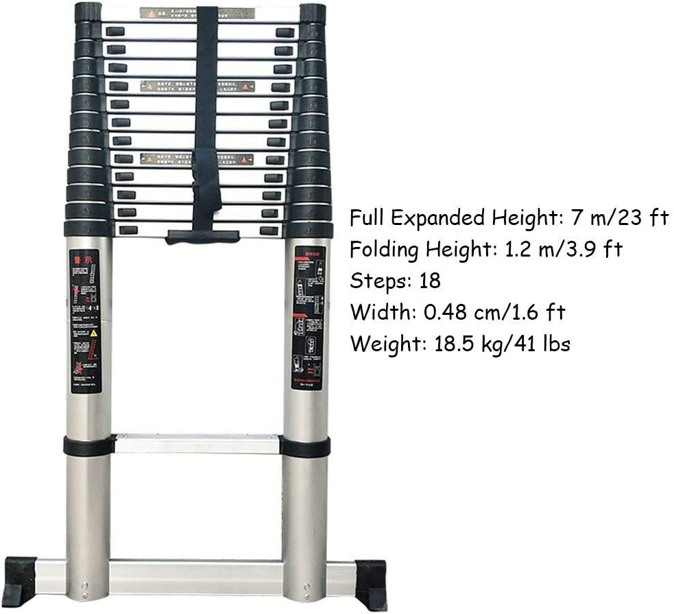 200 kg ZAQI Teleskopleiter Leiter Aluleiter Treppenleiter Extra hohe Teleskopleiter Hochleistungs-Klappleiter aus Aluminium f/ür Loft-Dachb/öden im B/üro zu Hause 5 m // 6 m // 7 m // 8 m schwarz