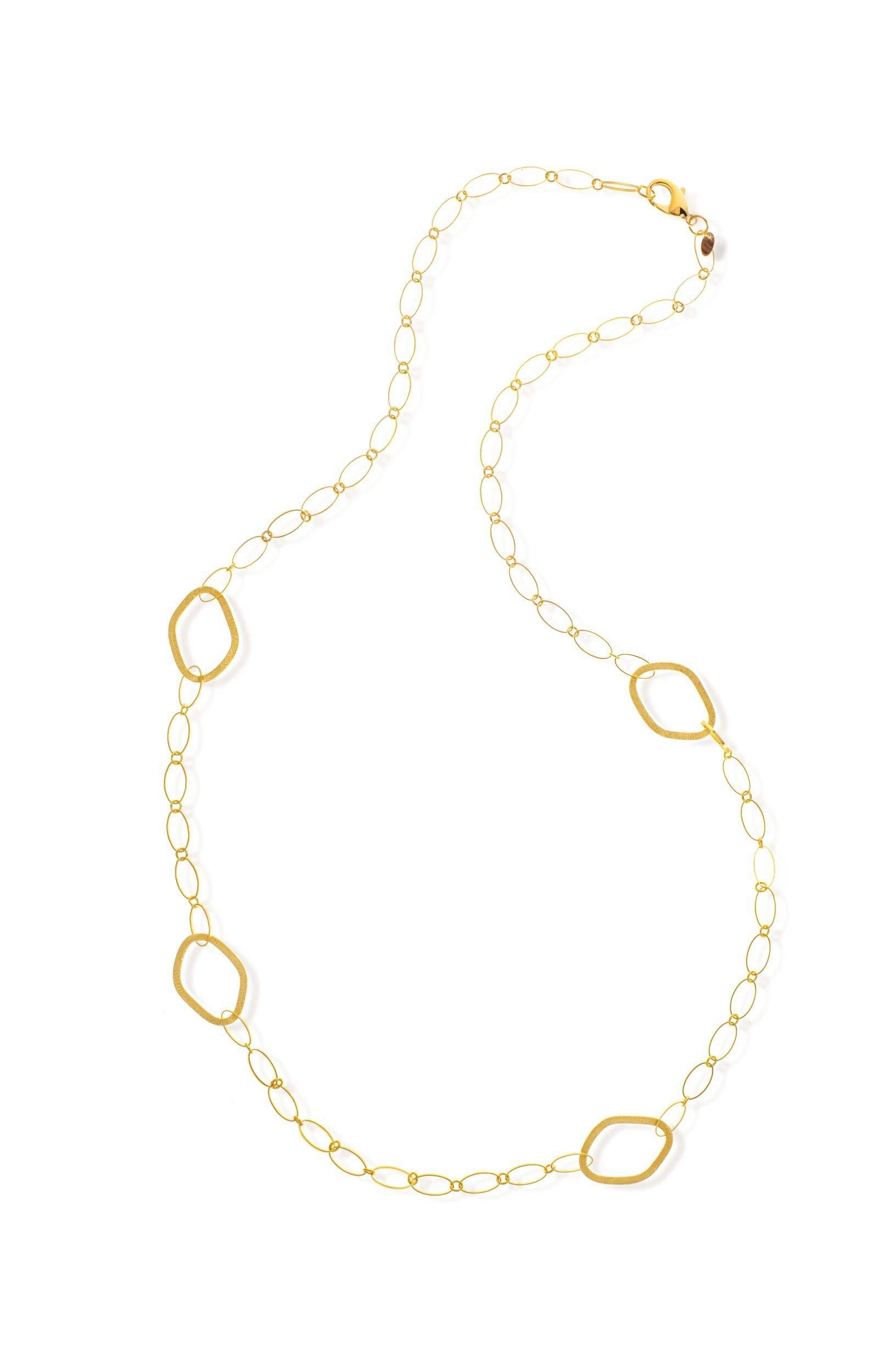 Rivka Friedman 18K Gold Clad Elongated Satin Station Long Necklace