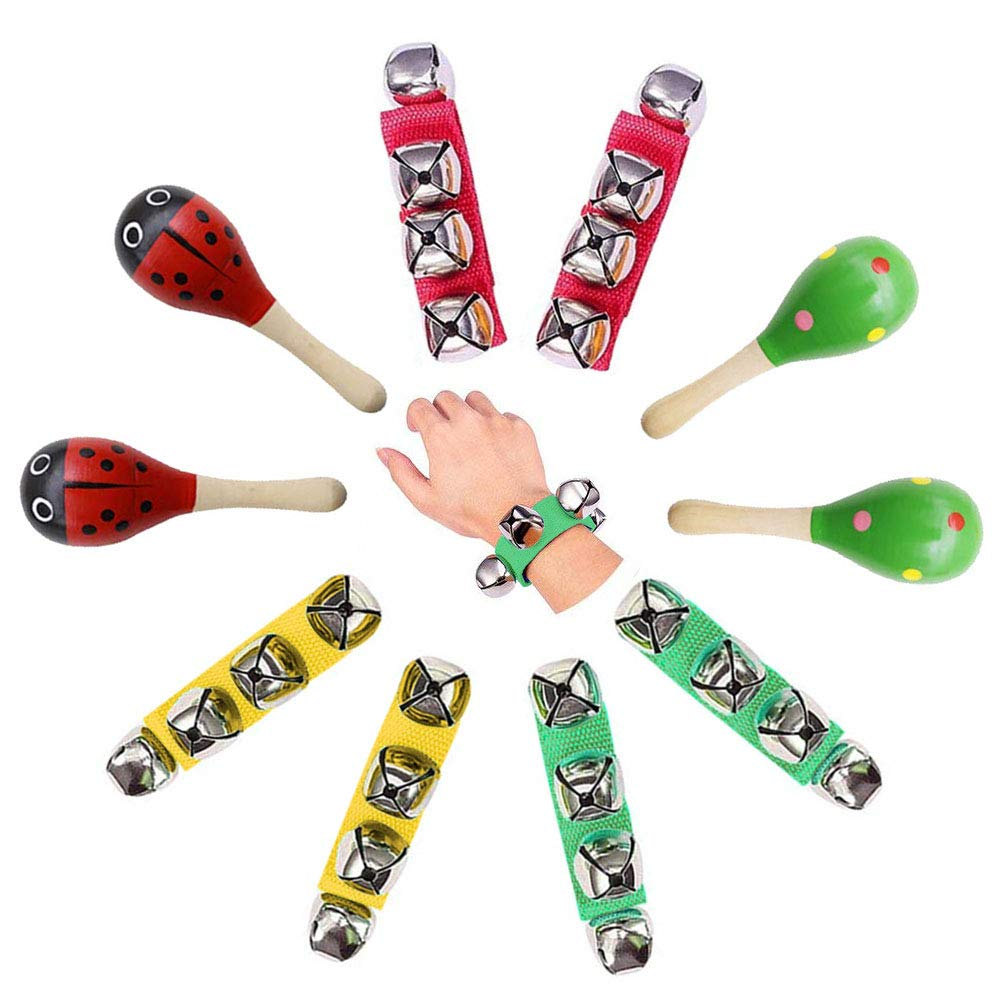 Kids Rhythm Toys,10pcs Musical Instruments Toys Wooden Wrist Bells Fiesta Maracas for Party Favors Classroom School