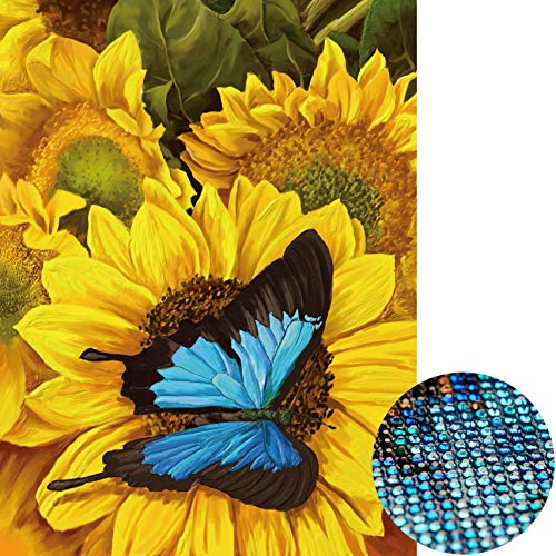 Staroar Crytal Rhinestone Diamond Painting Kit Full Drill Special Shape - Butterfly with Sunflowers (28 Colors) Flowers Decoration Painting