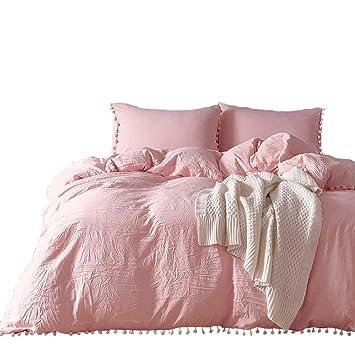 Bettwäsche Romantisch 135x200 Rosa Uni Mädchen Damen Gewaschene