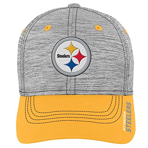 Outerstuff NFL NFL Pittsburgh Steelers Youth Boys Velocity Structured Flex Hat Heather Grey, Youth One Size