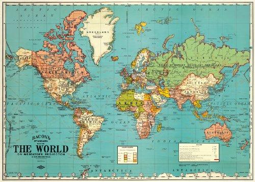(Cavallini Decorative Wrap Poster, World Map 4, 20 x 28 inch Italian Archival Paper (WRAP/MAPWRD4))