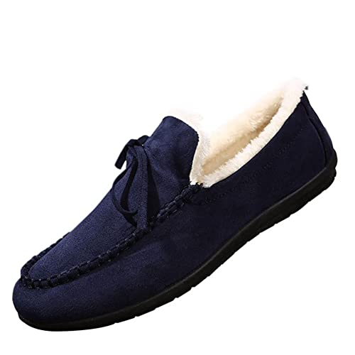 Hzjundasi Hombres Mocasines de Ante de Invierno Mocasines Planos con Suela de Goma Zapatos Bajos Zapatos de Piel: Amazon.es: Zapatos y complementos