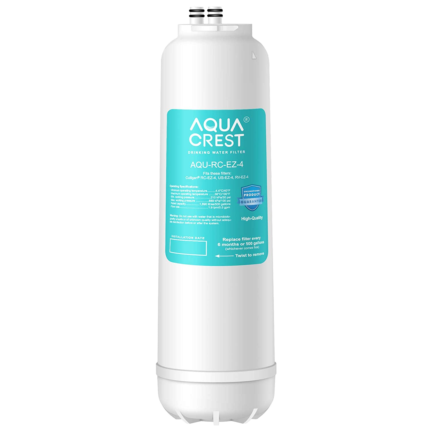 AQUACREST RC-EZ-4 Premium Water Filtration Replacement Cartridge, Compatible with all Culligan EZ Change Water Filter Systems, including RCEZ-4, IC-EZ-4, US-EZ-4, RC-EZ-3, RC-EZ-1, 500 Gallons